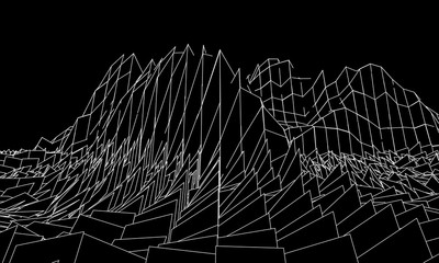 Wireframe 3D landscape mountains. Futuristic 3D cartography. Wireframe landscape wire.
