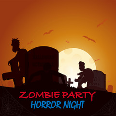 Grave, tomb zombie flying box silhouette. Colored poster in a dark style for Halloween party