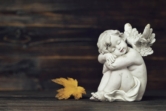 Guardian angel and autumn leaf