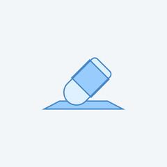 Eraser 2 colored line icon. Simple dark and light blue element illustration. Eraser concept outline symbol design from education set
