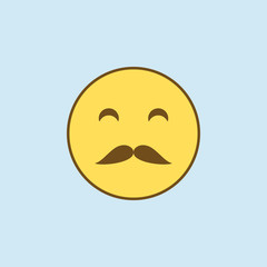 whiskered 2 colored line icon. Simple yellow and brown element illustration. whiskered concept outline symbol design from emoji set