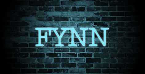 first name Fynn in blue neon on brick wall