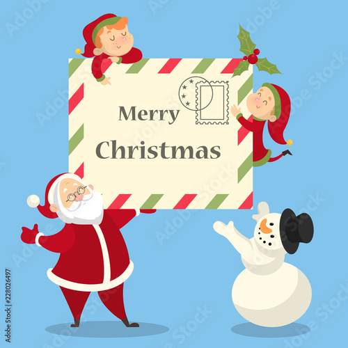 Cute funny merry xmas postcard decoration design\