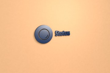 3D illustration of Status, blue color and blue text with beige background.