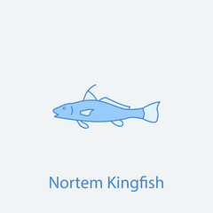 northen kingfish 2 colored line icon. Simple light and dark blue element illustration. northen kingfish concept outline symbol design from fish set