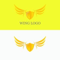 Wing logo design vector symbol gradient gold element shield illustration