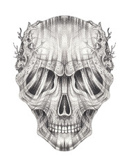 Art Surreal Skull Tattoo. Hand pencil drawing on paper