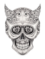 Art Vintage mix devil skull tattoo. Hand pencil drawing on paper.
