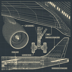 Jet airliner drawings in retro style