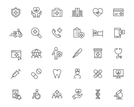 medical ambulance health insurance line black icons set