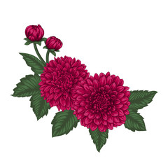 beautiful bouquet dahlias with the effect of a watercolor drawing isolated on background. design greeting card and invitation of the wedding, birthday, Valentine s Day, mother s day and other holiday