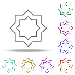 eight-pointed star outline icon. Elements of religion in multi color style icons. Simple icon for websites, web design, mobile app, info graphics