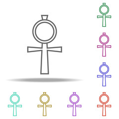 Egyptian cross outline icon. Elements of religion in multi color style icons. Simple icon for websites, web design, mobile app, info graphics