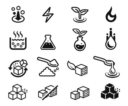 Symbols of different sugar qualification(icon concept). Sweet nutrition product sign.