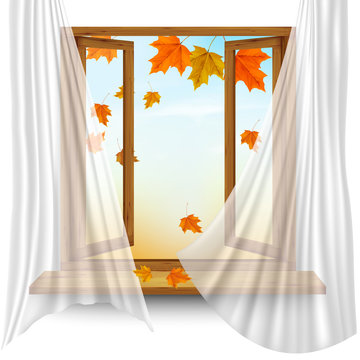 Autumn background with open window and colorful leaves. Vector