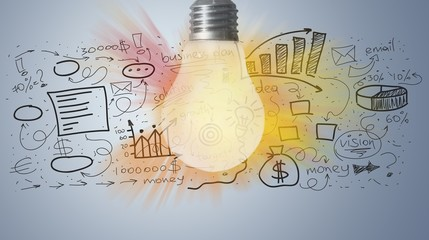 Light bulb banner, marketing concept, business idea