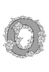 """Black and white illustration of the letter """"O"""" with swirl patterns."""