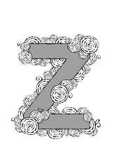 """Black and white illustration of the letter """"Z"""" with swirl patterns."""