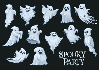 Halloween vector scary ghosts, spooky party Wall mural