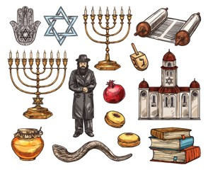 Judaism religion symbols, isolated vector sketch