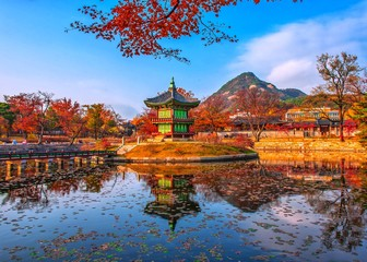 Autumn at gyeongbokgung palace seoul south Korea
