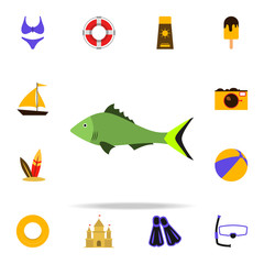 a fish flat icon. Summer icons universal set for web and mobile
