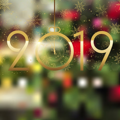 Happy New Year or Christmas background with gold confetti. Vector