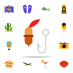 float and hook flat icon. Summer icons universal set for web and mobile