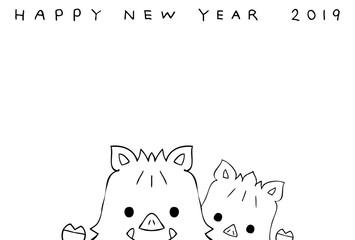 2019年 年賀状 手描き 亥年