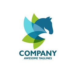 creative colorful abstract horse logo vector concept