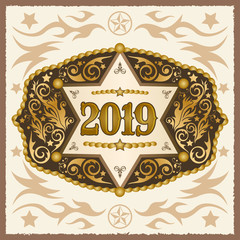 2019 year western cowboy belt buckle with sheriff badge vector design