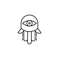 Hamsa Hand icon. Element of Jewish icon for mobile concept and web apps. Thin line Hamsa Hand icon can be used for web and mobile