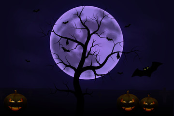 Halloween background with tree, full Moon and pumpkins in dark night isolated. Halloween moon, scary