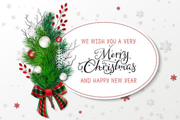 Vector illustration of greeting banner template with hand lettering label - merry Christmas - with realistic fir-tree branches, bauble, snowflakes, and decorative bead branches