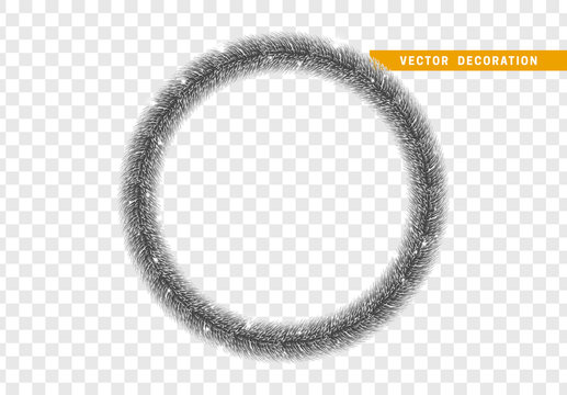 Christmas traditional decorations, dark silver lush tinsel. Xmas circle wreath garland, isolated realistic decor element