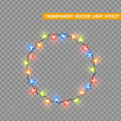 Garlands color colorful isolated vector, Christmas decorations lights effects. Glowing lights for Xmas Holiday.