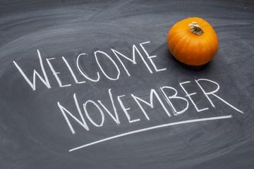 Welcome November handwriting on blackboard