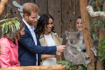 The Duke and Duchess of Sussex meet a Koala called Ruby during a visit to Taronga Zoo in Sydney on the first day of the Royal couple's visit to Australia