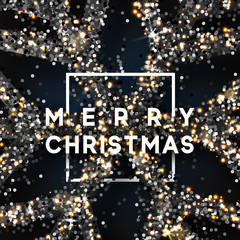 Christmas background with shining snowflakes in square frame. Greeting card with text Merry Christmas, poster, banner, vector Xmas illustration
