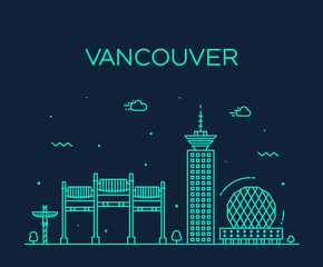 Wall Mural - Vancouver city skyline Canada vector linear style
