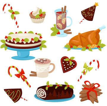 Flat vector set of traditional Christmas food and drinks. Tasty chicken for holiday dinner. Delicious desserts and hot beverages