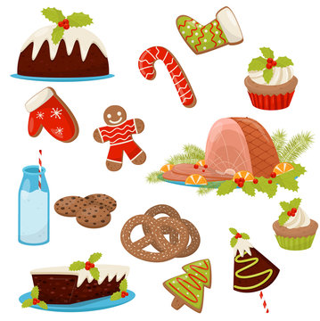 Flat vector set of Christmas food and drinks. Appetizing ham, homemade cakes, pretzels, candy cane, milk, cookies and cupcakes