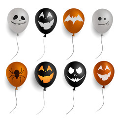 Set of isolated colorful Halloween balloons with scary faces.