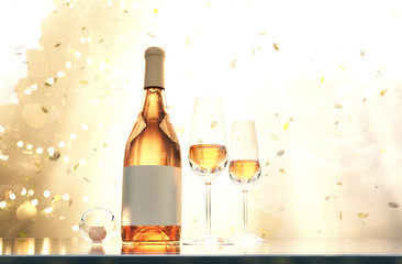 Scene of glasses of champagne and bottle of champagne decorated for holidays celebration background,3d rendering