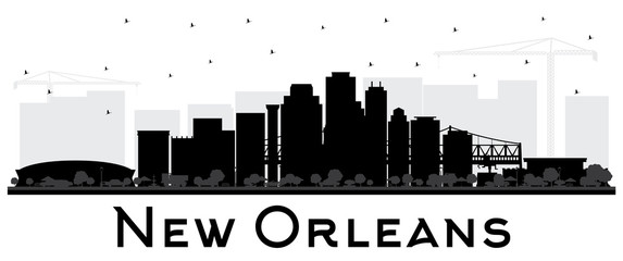 New Orleans Louisiana City Skyline Silhouette with Black Buildings Isolated on White.