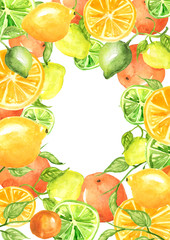 Watercolor invitation, composition, greeting card from orange pattern, tangerine, lime, citrus slices, splash of paint on isolated background. Stylish detail, hand-drawn, for your design.Tropical.