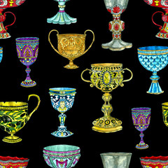 Seamless pattern with ancient cups and goblets on black. Hand drawn doodle graphic illustration with fantasy and mystic objects