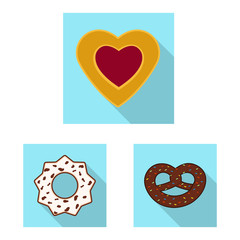 Isolated object of biscuit and bake icon. Set of biscuit and chocolate vector icon for stock.