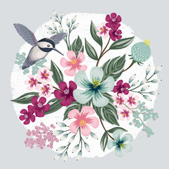 Vector illustration of a beatiful floral bouquet with a cute bird in spring for Wedding, anniversary, birthday and party. Design for banner, poster, card, invitation and scrapbook