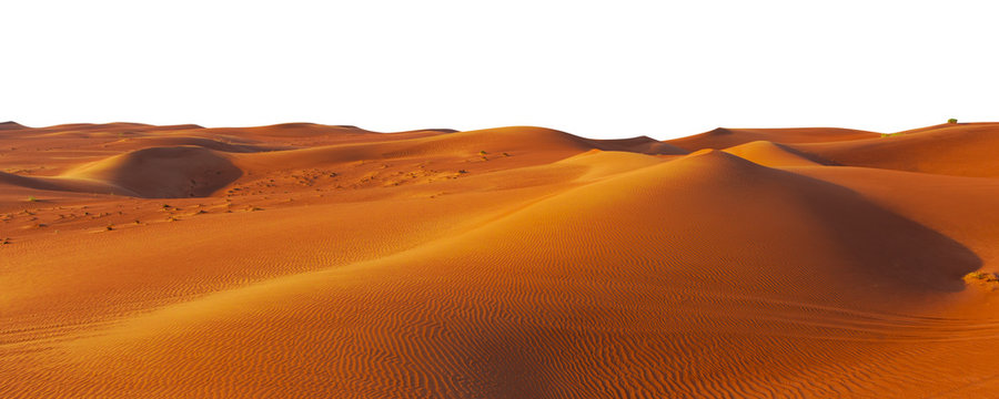 desert sand and dunes isolated on white background